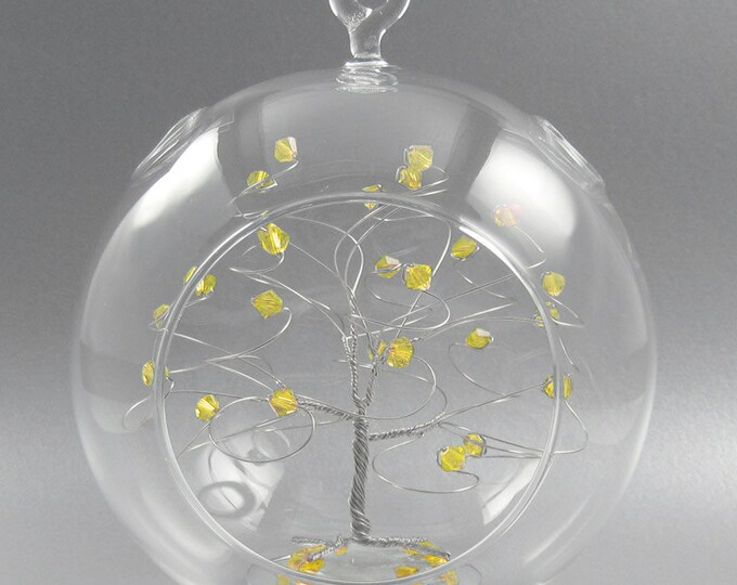 Crystal Christmas Ornament Citrine Yellow Swarovski Crystal Elements and Silver November Crystal Christmas Ornament