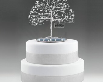 "Personalized Wedding Any Anniversary Cake Topper Tree Custom Swarovski Crystal Elements Silver Copper Gold Anniversary 7"" w 5"" Mirror Base"