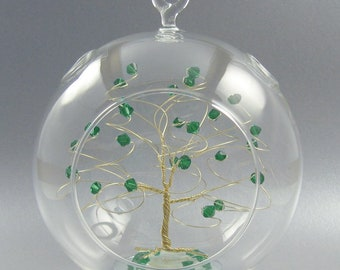 May Birthstone Christmas Ornament Emerald Swarovski Crystal Elements on Gold Silver or Copper Optional Personalized Sign 2018