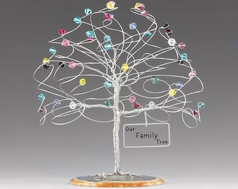 "Family Tree Personalized Birthstone Sculpture 6"" x 6"" Swarovski Crystal Elements Family Birthstone Tree"