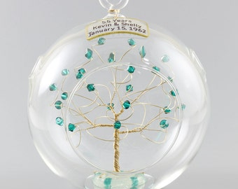 55th Anniversary Gift Personalized Ornament Idea with Emerald Swarovski Crystal Elements on Gold Wire