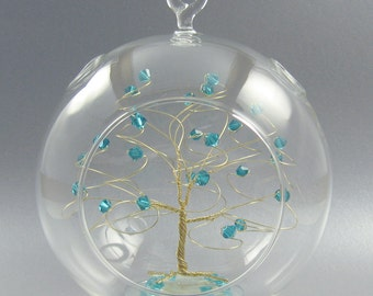 Christmas Ornament  December Birthstone Blue Zircon Swarovski Crystal Elements and Gold