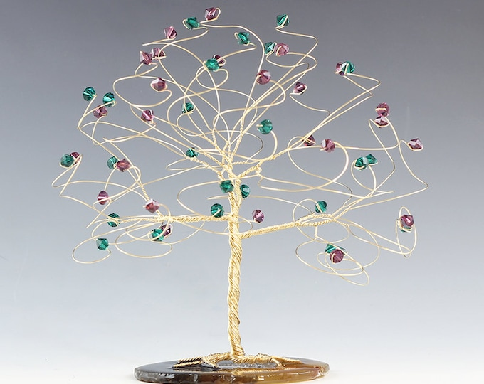 "Tree Cake Topper CUSTOM COLORS 6"" x 6"" in Swarovski Crystal Elements Made in Your Choice Silver Gold Copper and Crystal Colors"
