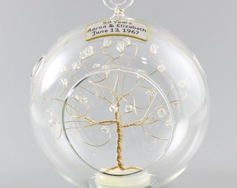 50th Anniversary Gift Personalized Ornament Gold with Clear Swarovski Crystal Elements