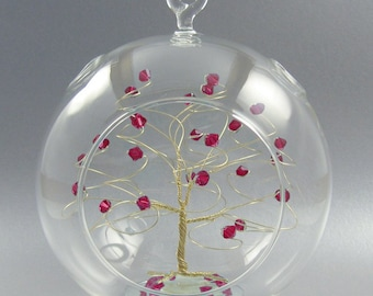 July Birthstone Christmas Ornament Ruby Swarovski Crystal Elements on Gold Silver or Copper Optional Personalized Sign 2018