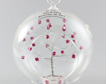40th Anniversary Gift Personalized Ornament Ruby Anniversary Swarovski Crystal Elements in Silver