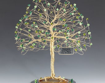 Tree Cake Topper Green Personalized Wedding Cake Topper Silver Gold Copper Tone Wire with Swarovski Crystal Elements Emerald Olivine Peridot