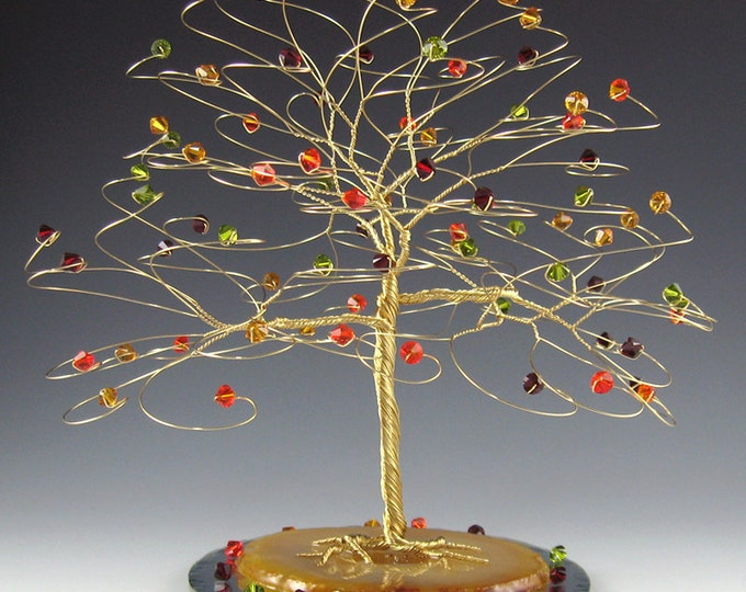 "Fall Tree Cake Topper Fall Wedding Cake Topper with Swarovski Crystal Elements- 7"" x 7"" Xlg Silver Gold Copper Red Green Yellow Orange"