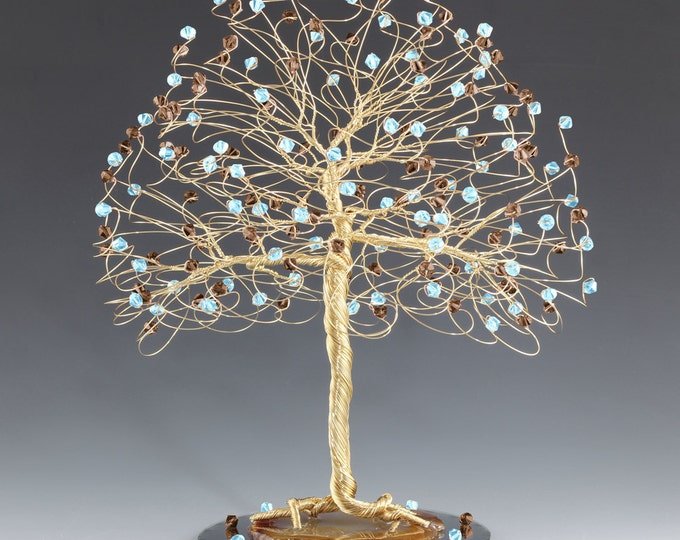 CUSTOM Tree Cake Topper with Swarovski Crystal Elements Silver Gold or Copper and Custom Colors Wedding Cake Topper Nature Outdoor Wire Tree