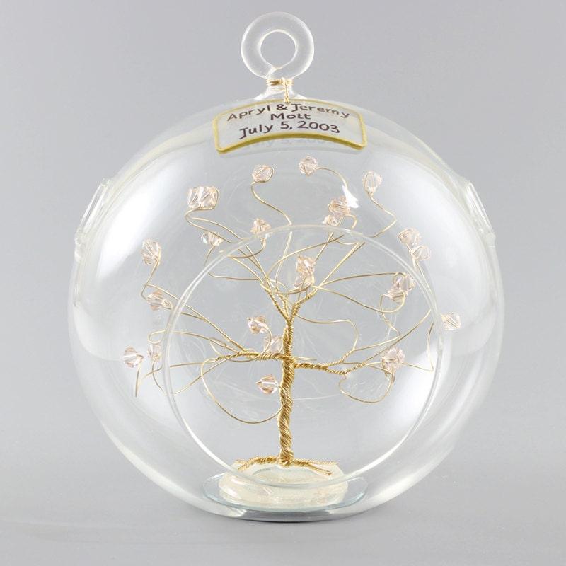 Christmas Ornament Wedding Gift: Personalized Wedding Gift Ornament Keepsake Swarovski