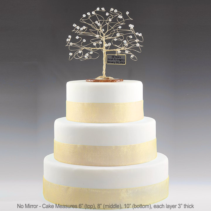 Personalized 50th Anniversary Cake Topper Tree Gift Idea Clear Swarovski Crystal Elements On Gold 6 With Optional Mirror