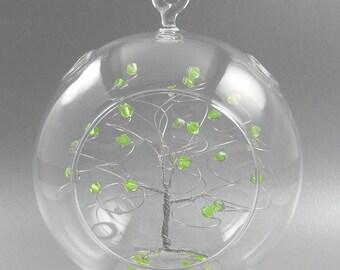 Christmas Ornament Peridot Green Swarovski Crystal Elements and Silver August Crystal Christmas Ornament