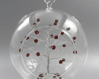 Crystal Christmas Ornament January Garnet Swarovski Crystal Elements and Silver Unique Christmas Ornament