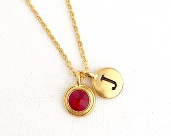 Birth Month Necklace - Ruby Necklace - July Birthstone Necklace - Initial Necklace, Personalized Necklace, Birthstone Jewelry, July Birthday