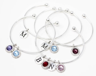 Personalized Silver Bracelet - Sterling Silver - Graduation Gift - Birthday Gift - Simple Bracelet - Simple Birthstone Bracelet For Mom