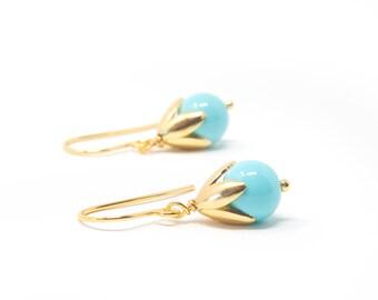 Small Turquoise Earrings,  Gold Earrings, Feminine Earrings, Gift For Daughter, Dainty Earrings