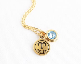 Zodiac Jewelry - Birthday Month - Personalized Zodiac Necklace With Birthstone Charm - Astrology Pendant - Horoscope Necklace
