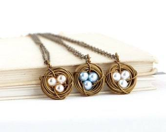 Push Present - Gift For New Mom - Gift For Mother - Bird Nest Pendant - Family Jewelry - Pearl 3 Eggs in a Nest - Sweet Necklace