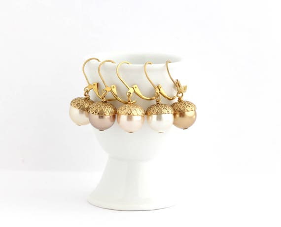 Acorn Dangle Earrings Lever-back Ear Wires Pale Gold Simulated Pearl