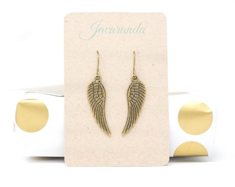 Angel Wing Earrings For Women In Antique Brass Finish