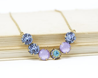 Purple Crystal Necklace, Delicate  Vintage Jewelry, Crescent Necklace