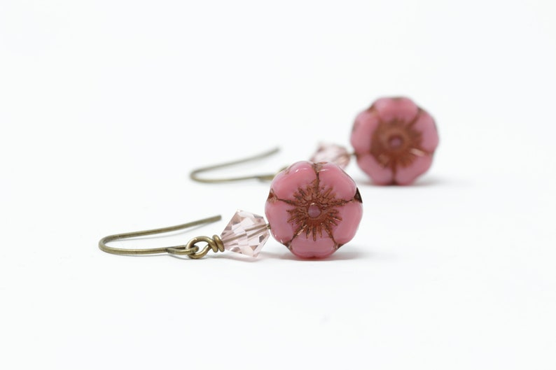 Pink Flower Earrings Rustic Floral Earrings Dangle Earrings Pink Beaded Earrings Boho Earrings