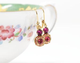 Crystal Drop Earrings - Vintage Crystal Leverback Earrings - Pink Earrings