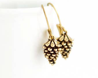 Gold Pine Cone Earrings - Woodland Earrings - Pinecone Earrings - Charm Earrings - Rustic Jewelry - Nature Themed Jewelry - Gift For Her