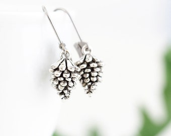 Woodland Earrings - Pinecone Earrings - Silver Pine Cone Earrings - Charm Earrings - Rustic Jewelry - Nature Themed Jewelry - Gift For Her