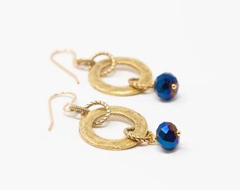Hammered Gold Earrings, Dangle Earrings, Boho Earrings, Gold Circle Earrings