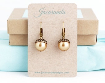Brown Acorn Earrings - Dangle Earrings - Rustic Earrings - Woodland Earrings - Woodland Wedding - Pearl Acorn Earrings - Gold Acorn Earrings