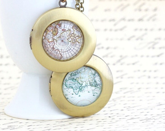 Unique Locket -  World Map Locket Necklace - Wanderlust Locket - Brass Map Locket - Vintage Map Locket - Gift For Traveler