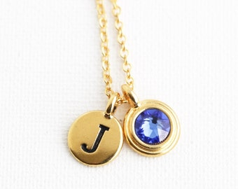 Birthstone Personalized Birthstone Necklace - Initial Necklace - Birthstone Jewelry - Monogram Necklace - Birthday Gift