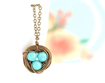 Gift For Mom - Mothers  Necklace - Turquoise Bird Nest Necklace  - Family Jewelry - Gift For Mother - Woodland Necklace