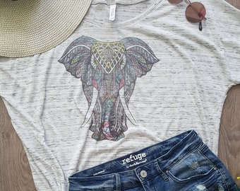 f5a66e548 Boho Colorful Elephant Mandala Print White Marbled Women's Slouchy Tee