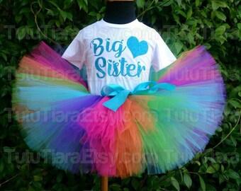 "Rainbow Big Sister Heart Top, Custom Shirt & Tutu Set, Hot Pink Orange Green Turquoise Blue Purple 8"" Extra Full Tutu Skirt for Babies Girls"