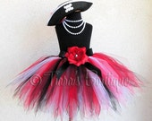 Red Black White Pirate Pixie Tutu and Hat Costume Set - Custom Sewn 15 39 39 Pixie Tutu w Pirate Hat - Skull and Crossbones - sizes up to 5T