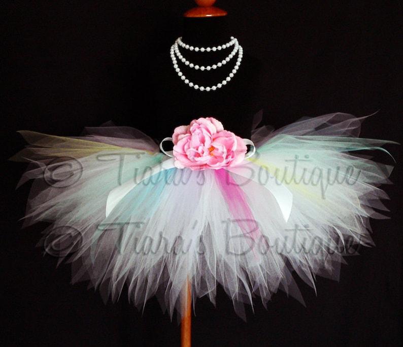 aaa09607acc9 Baby Girls Tween Tutu Pale Rainbow White w/ Hot Pink | Etsy