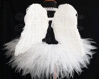 "Angel Tutu Costume, Girls Tutu, Angel Tutu, White Tutu, Tutu and Wings, 13"" Tutu and Angel Wings, Valentine's Day Tutu Set, Christmas Angel"