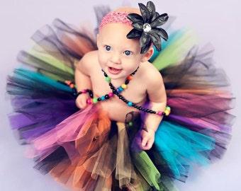 "Rainbow Tutu - Sewn Tutu - So Cal Punk Tutu - Custom 8"" Tutu - sizes Newborn to 5T - Black with Bright Neon Rainbow Colors"