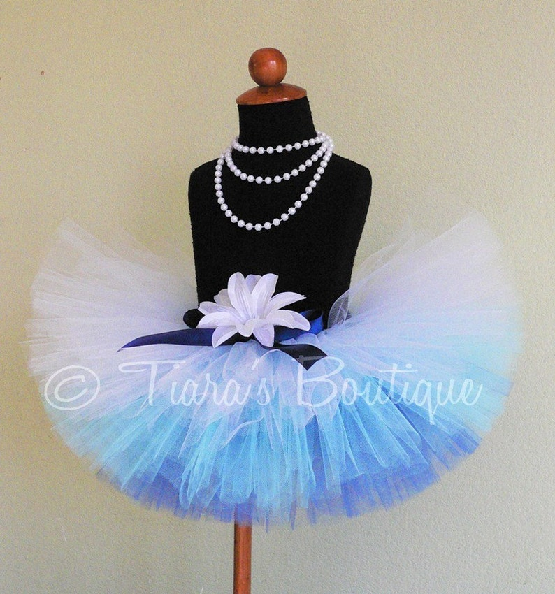 Frosted Pond Blue Ombre Tutu Snowfall Collection by Tiara/'s Boutique 8 tutu sizes Newborn to 5T Sewn Tutu Blue White