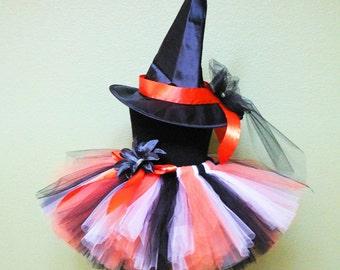 Girls Witch Costume, Halloween Witch, Girls Tutu Costume, Witch Hat and Tutu, Black White Orange Tutu, Girls Halloween Tutu Costume