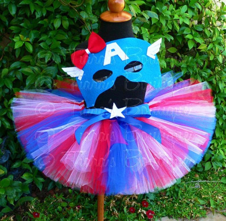 524bdc25bc Girls Halloween Costume Tutu Set Captain America Red White | Etsy