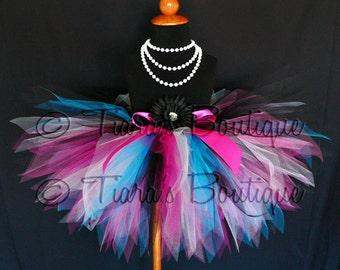 "Birthday Tutu - Dance Party Diva - Custom Sewn 11"" Pixie Tutu - Black White Fuchsia Turquoise Blue Hot Pink - girls sizes 9 to 12"