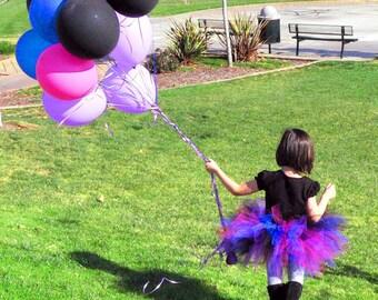 "Black Pink Purple Blue Tutu - Punkerella - 11"" pixie tutu - Custom SEWN Tutu - Girls sizes 6 to 8"