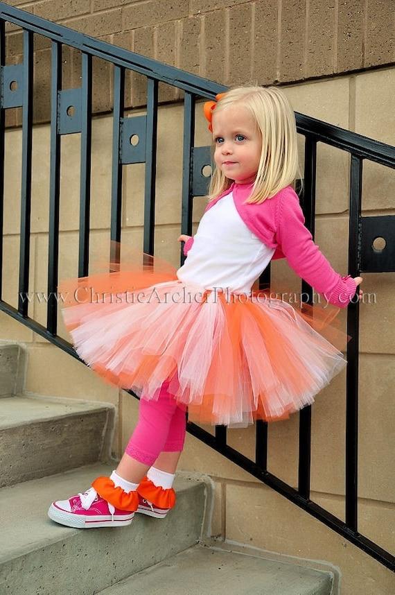 up to 10 long Custom SEWN tutu Orange White Tutu Tangerine Dreams sizes up to 5T
