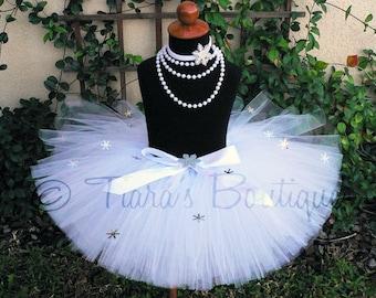 Girls Tutu, White Tutu, Snow Angel Tutu, Winter Wonderland Tutu, White Snowflake Tutu, Custom Sewn Tutu, Winter Onederland Photo Prop