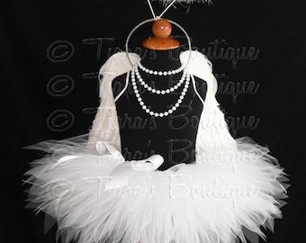 "Angel Tutu Costume w/ Halo, 13"" Tutu Angel Wings and Halo Headband, Angel Tutu Costume, Girls Tutu, Angel Tutu, White Tutu, Cupid Photo Prop"