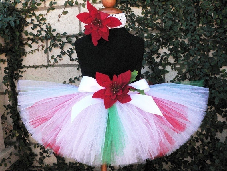 Custom Sewn Tutu red white up to 12/'/' long and green peppermint inspired tutu Christmas Candy Cutie sizes Newborn to 5T
