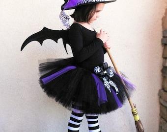 "Halloween Tutu Witch Costume - Willow, the Wild Witch - Sewn 10"" Tutu & Hat - child's size 6, 7, 8 - Black Purple Zebra - Tutu and Hat Set"